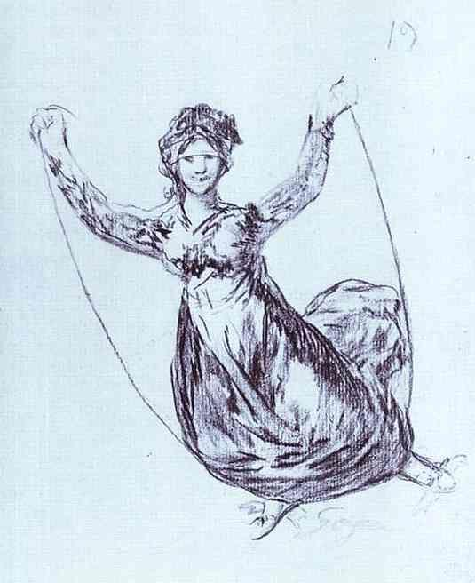 Francisco de Goya. Young Witch (?) Flying with a Rope.