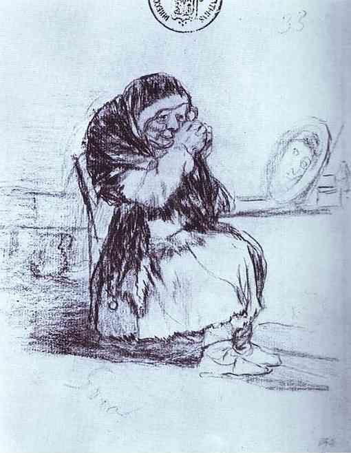 Francisco de Goya. The Old Woman with a Mirror.
