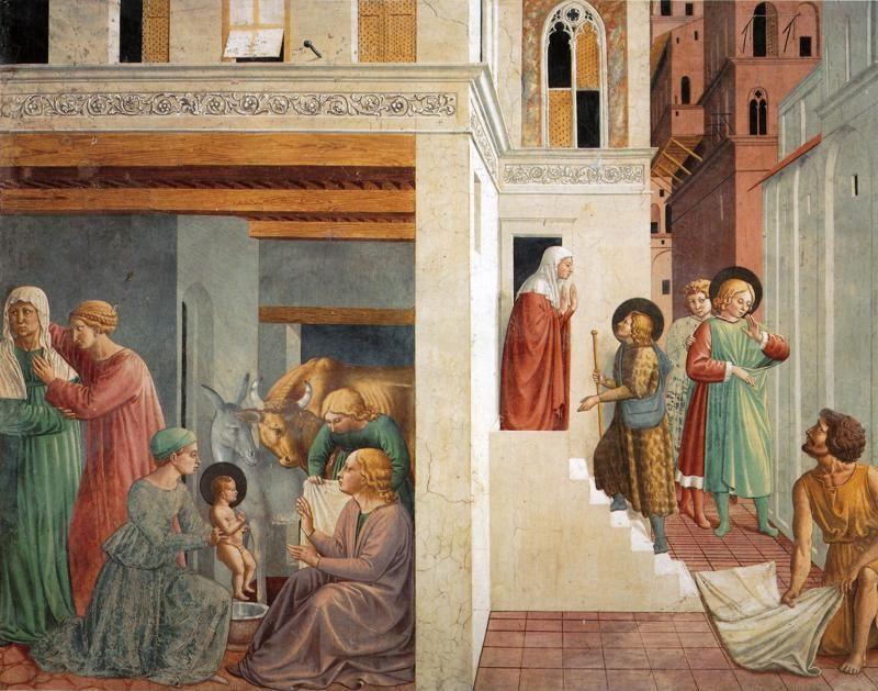 Benozzo Gozzoli. Birth of St. Francis, Prophecy of the Birth by a Pilgrim, Homage of the Simple Man.