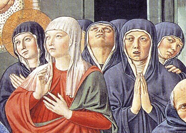 Benozzo Gozzoli. Death of St. Monica. Detail.