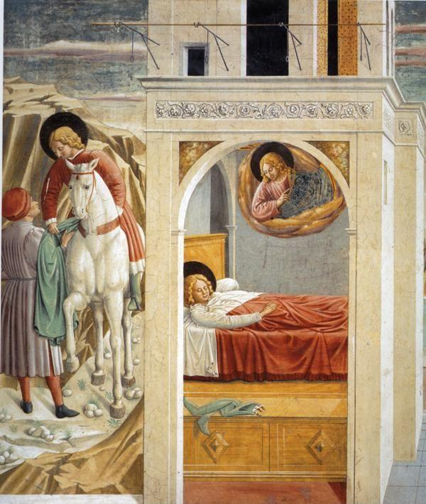 Benozzo Gozzoli. St. Francis Giving Away His Clothes, Vision of the Church Militant and Triumphant.