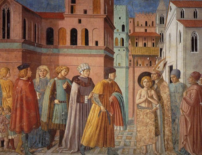 Benozzo Gozzoli. Renunciation of Worldly Goods and The Bishop of Assisi Dresses St. Francis.