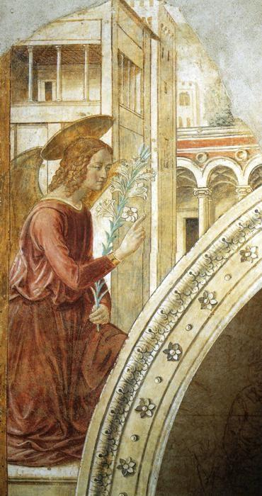 Benozzo Gozzoli. Tabernacle of the Visitation: Annunciation: the Archangel Gabriel.