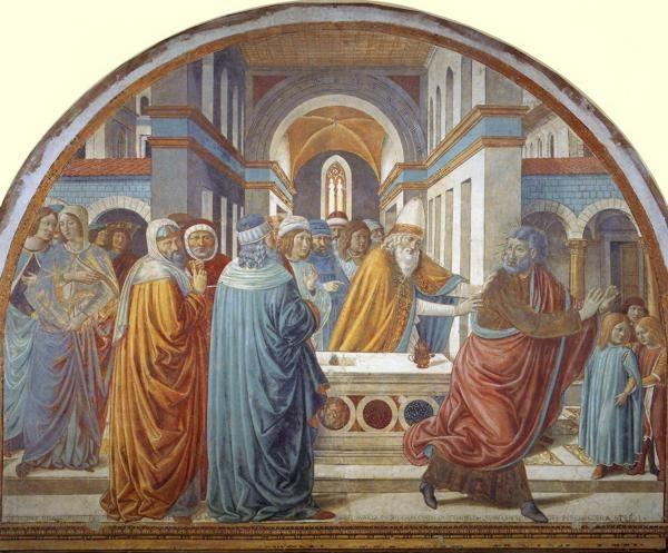 Benozzo Gozzoli. Tabernacle of the Visitation: Expultion of Joachim from the Temple.