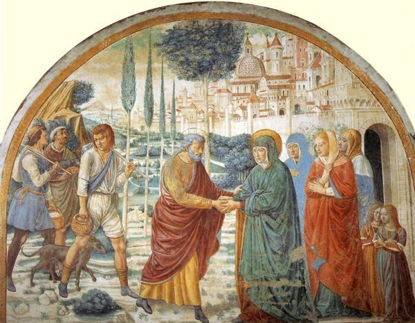 Benozzo Gozzoli. Tabernacle of the Visitation: Meeting at the Golden Gate.