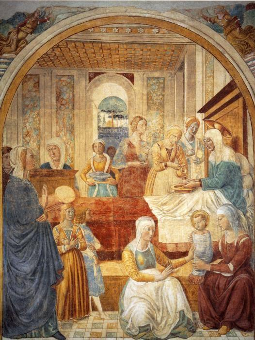 Benozzo Gozzoli. Tabernacle of the Visitation: Birth of Mary.