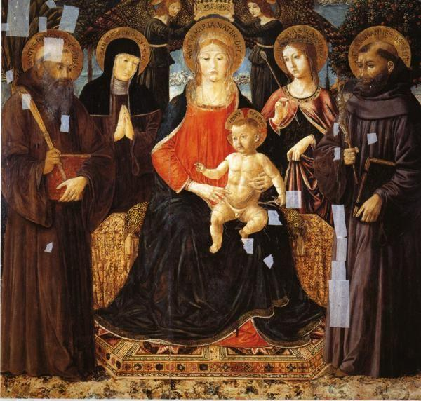 Benozzo Gozzoli. Madonna and Child Enthroned Among St. Benedict, St. Scholastica, ST. Ursula and St. John Gualberto.