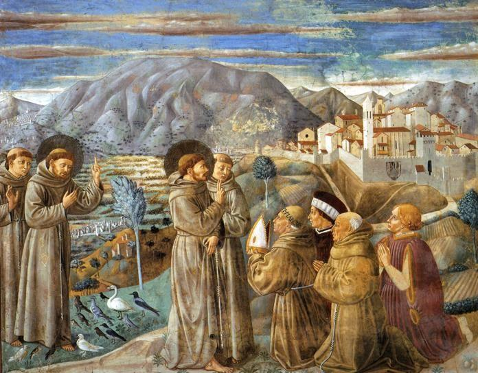 Benozzo Gozzoli. Preaching to the Birds and Blessing Montefalco.