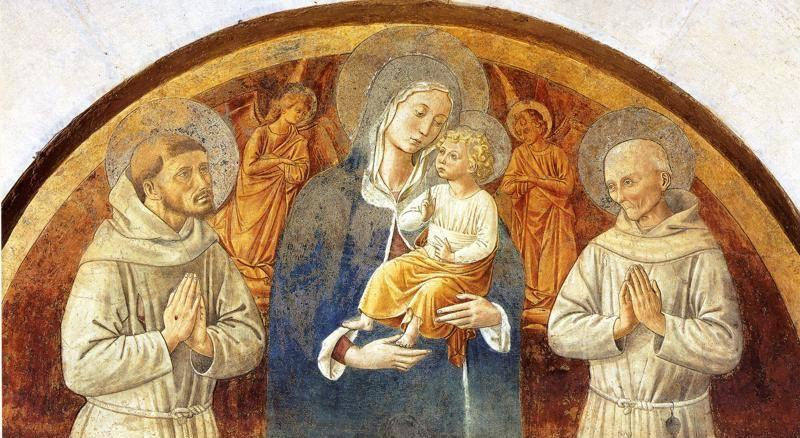 Benozzo Gozzoli. Madonna and Child between St. Francis and St. Bernardine of Siena.