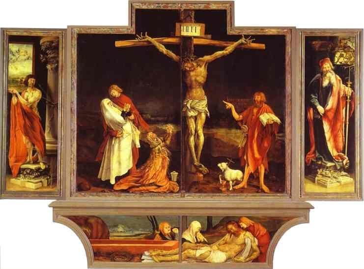 Matthias Grünewald. The first view of the altar:  (bottom) St. Sebastian (left), The Crucifixion (central), St. Anthony (right), Entombment.