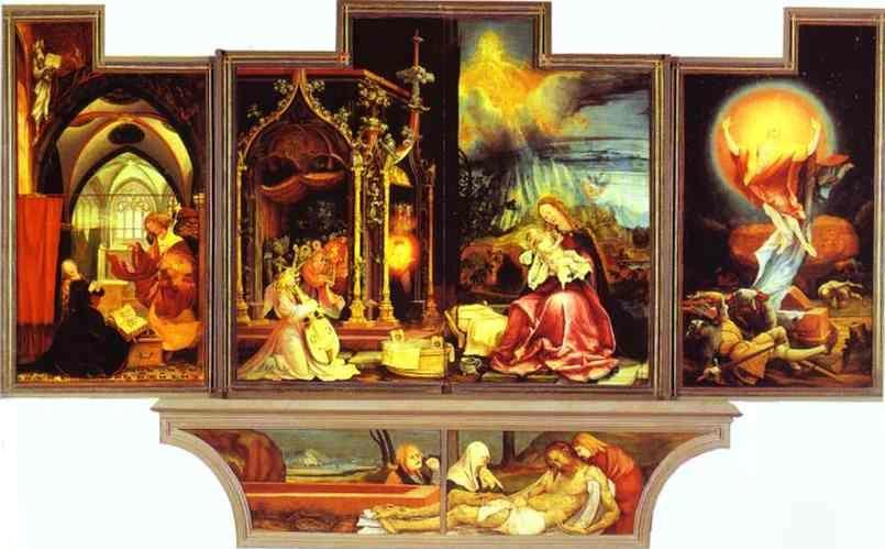 Matthias Grünewald. Annunciation (left), Concert of Angels (central left), Nativity (cental right), Resurrection (right).