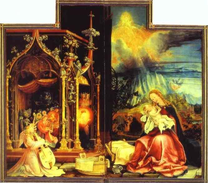 Matthias Grünewald. Concert of Angels (left) and Nativity (right).