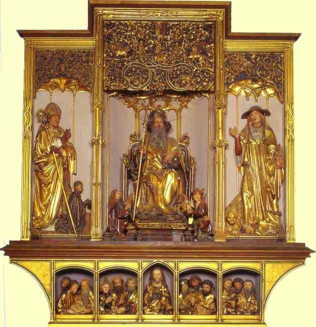 Matthias Grünewald. Central part: wooden carved figures of St. August, St. Anthony, St. Jerome; bottom part Jesus with 12 Apostles. Sculptures by Nicolas de Haguenau (active in Strasbourg around 1490).