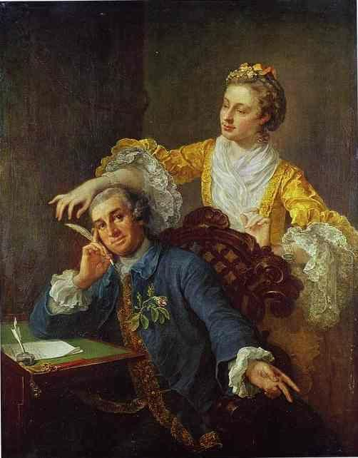 "William Hogarth. David Garrick with His Wife Eva-Maria Veigel ""La Violette"" or ""Violette""."
