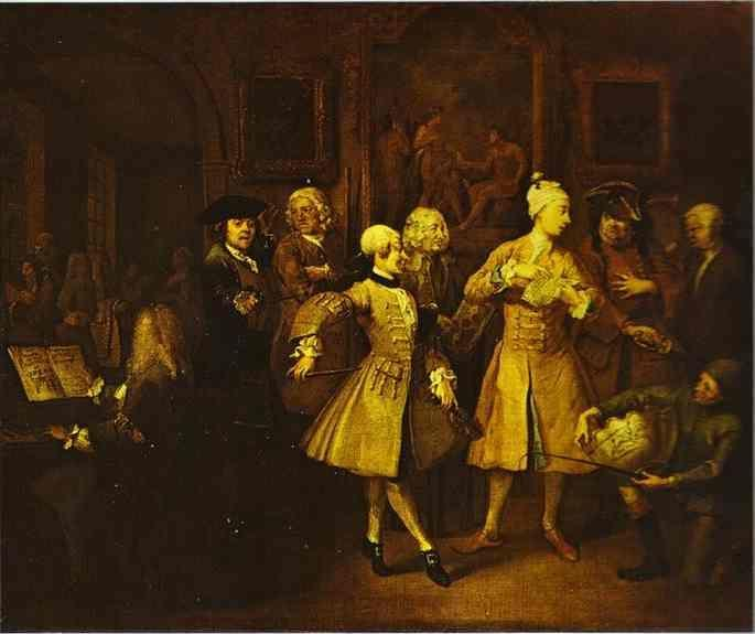 William Hogarth. Surrounded by Artists and Professors. (A Rake's Progress).