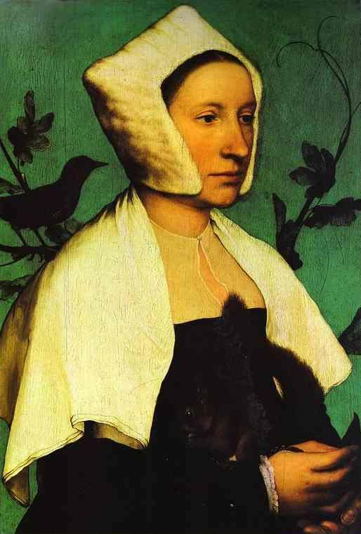 Hans Holbein. Portrait of Unknown Lady with a Squirrel and Starling.