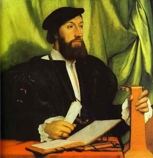 Hans Holbein. Portrait of Unknown Gentleman with Music Books and Lute.