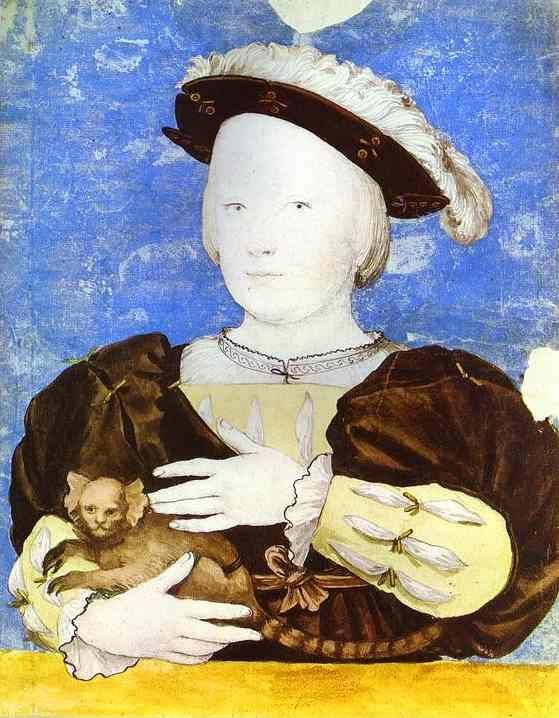 Hans Holbein. Portrait of Edward, Prince of Wales, with Monkey.
