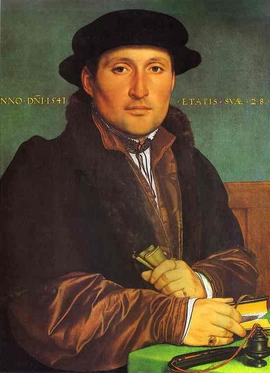 Hans Holbein. Portrait of Unknown Young Man at his Office Desk. 1541