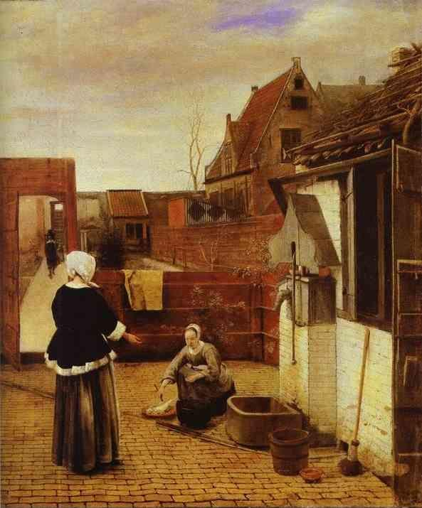 Pieter de Hooch. A Woman and Her Maid in a Courtyard.