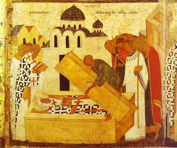Dionisii (Dionysius). The Discovery of the Remains. Border scene of St. Alexius, Metropolitan of Moscow, with Scenes from His Life.