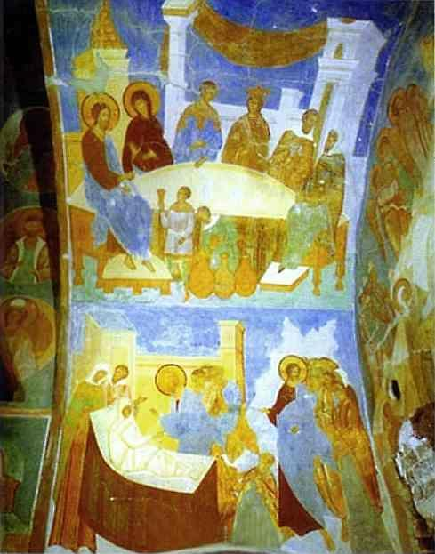 Dionisii (Dionysius). Ceiling mural in the Church of Nativity of the Virgin in the Pherapontov Monastery.