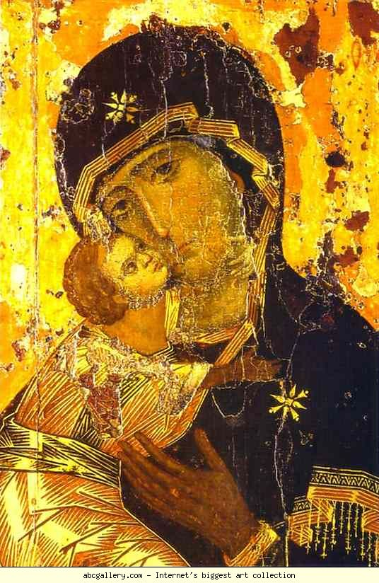 Russian Icon. The Vladimir Virgin with Child.