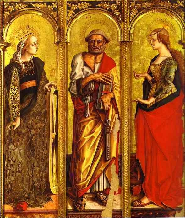 Carlo Crivelli. St. Catherine of Alexandria, St. Peter, and Mary Magdalene.