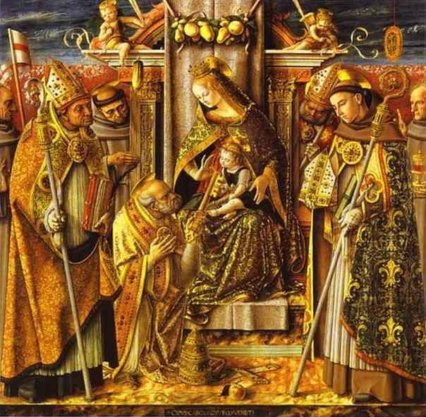 Carlo Crivelli. Madonna and Child Enthroned with Presentation of the Keys to St. Peter, with Saints John of Capistrano, Emidius, Francis, Louis of Toulouse, James of the Marches, and an Unidentified Bishop.