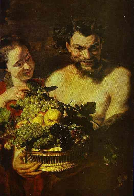 Jacob Jordaens. Satyr and Girl with a Basket of Fruit.