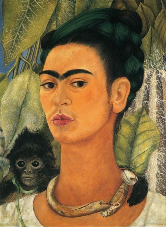 Frida Kahlo Self Portrait with Monkey