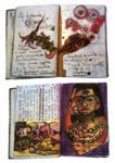 "Frida Kahlo. Diary pages: ""El horrendo 'ojosauro'"" and ""Portrait of Neferunico, Founder of Madness""."