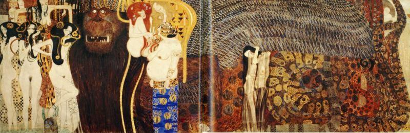 Gustav Klimt. The Beethoven Frieze: The Hostile Powers (far wall).
