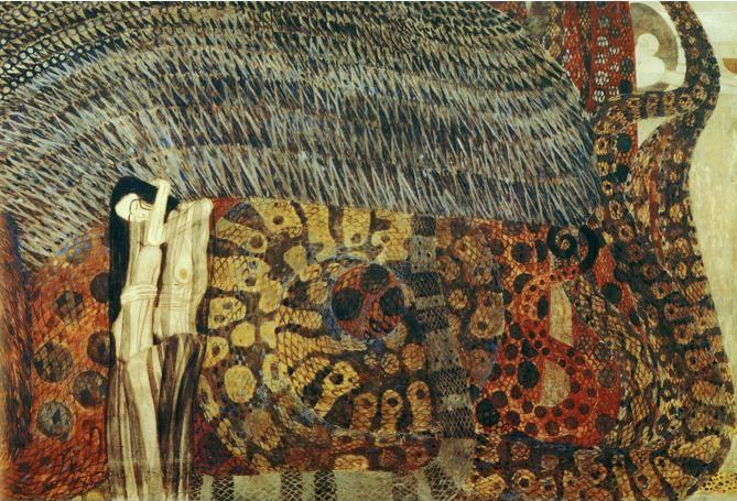 Gustav Klimt. The Beethoven Frieze: The Hostile Powers. Detail.