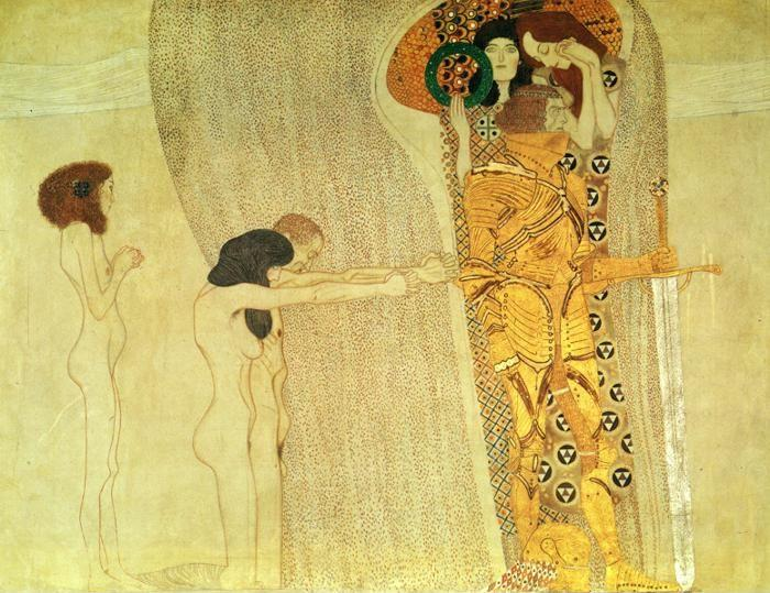 Gustav Klimt. The Beethoven Frieze: The Longing for Happiness (left wall).
