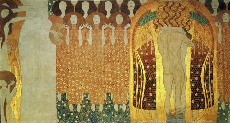 Gustav Klimt. The Beethoven Frieze: The Longing for Happiness Finds Repose in Poetry.