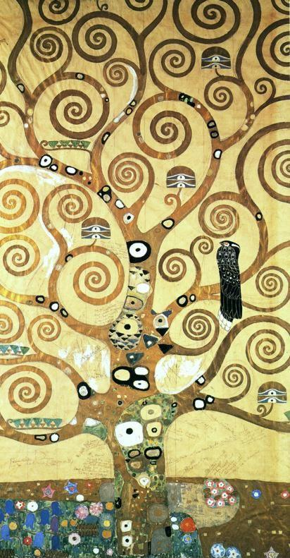 Gustav Klimt. Cartoon for the frieze in the Villa Stoclet in Brussels: central part of the Tree of Life.