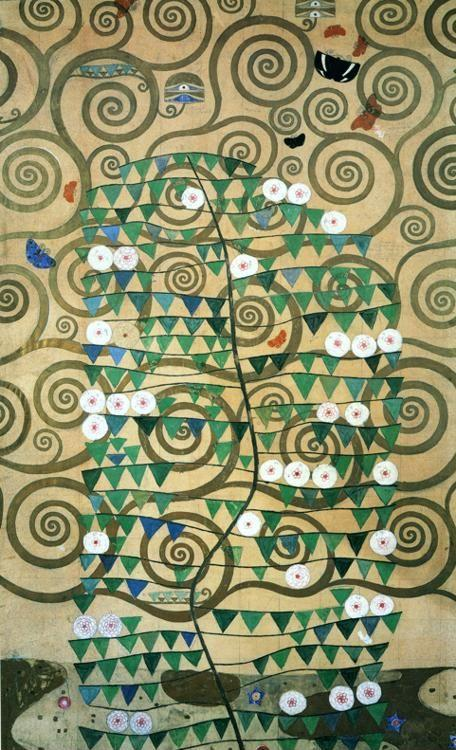 Gustav Klimt. Cartoon for the frieze in the Villa Stoclet in Brussels: right part of the Tree of Life.