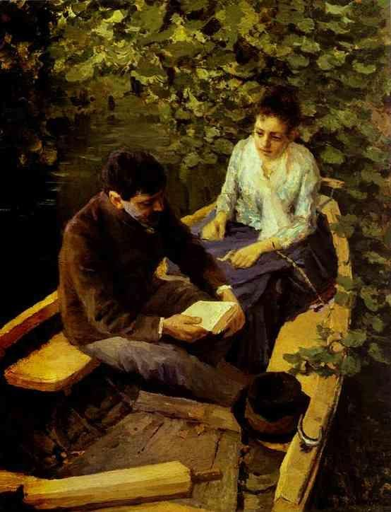 Constantin Korovin. In a Boat (Portrait of the Artist Maria Yakunchikova and Self-Portrait).