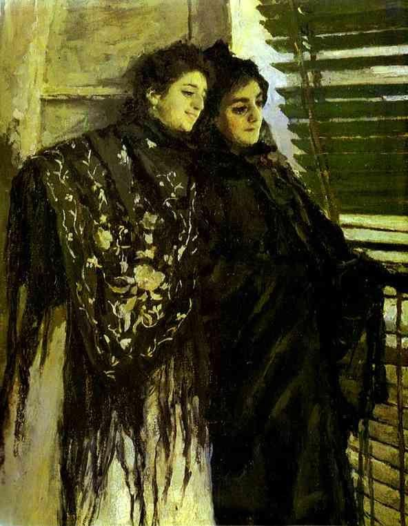 Constantin Korovin. In Front of the Balcony: Leonora and Ampara. Detail.