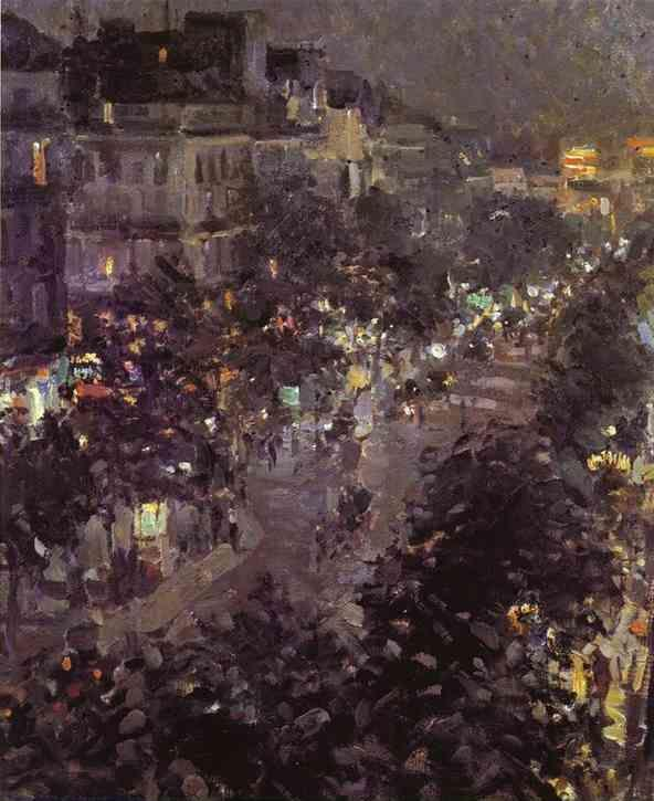 Constantin Korovin. Paris at Night. Boulevard des Italiens.