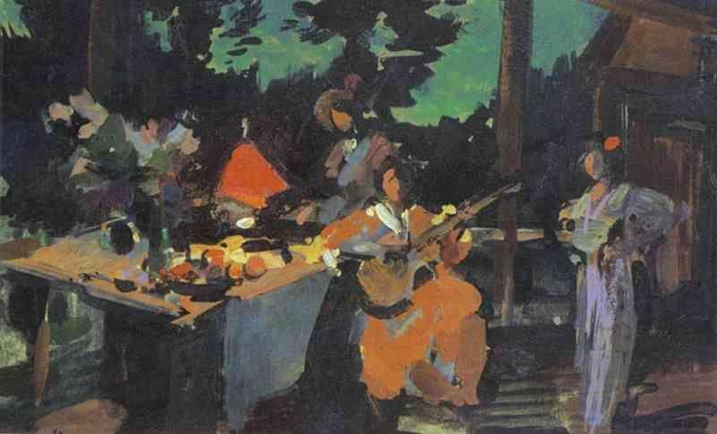 Constantin Korovin. On a Terrace. Evening in the Coutry.