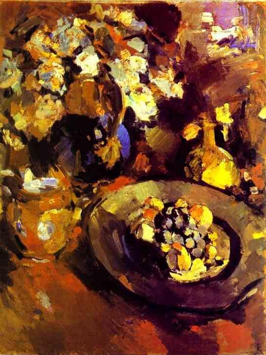 Constantin Korovin. Still Life with Fruit and Bottle.