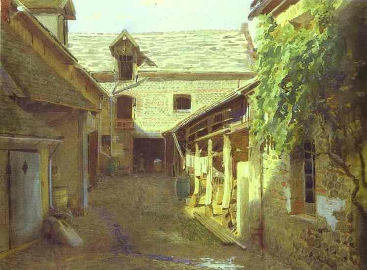 Ivan Kramskoy. Village Yard in France.
