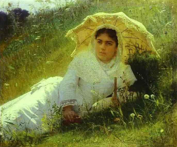 Ivan Kramskoy. Woman with an Umbrella. (In the Grass. Midday).