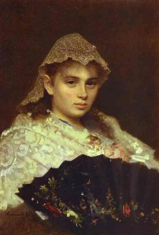 Ivan Kramskoy. Portrait of O. Rophtopulo (Girl with a Fan).