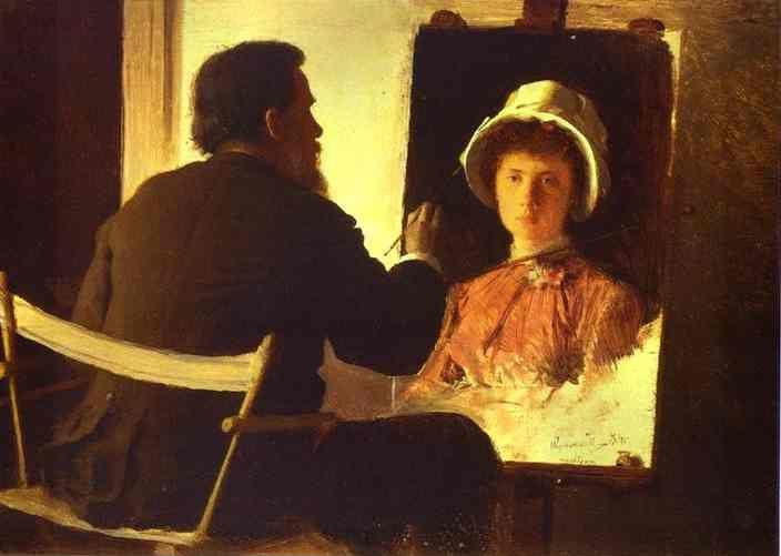 Ivan Kramskoy. Ivan Kramskoy Working on Portrait of his Daughter.