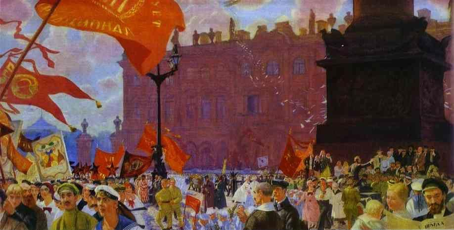 Boris Kustodiyev. Festival of the II Congress of the Comintern on the Uritsky Square in Moscow.