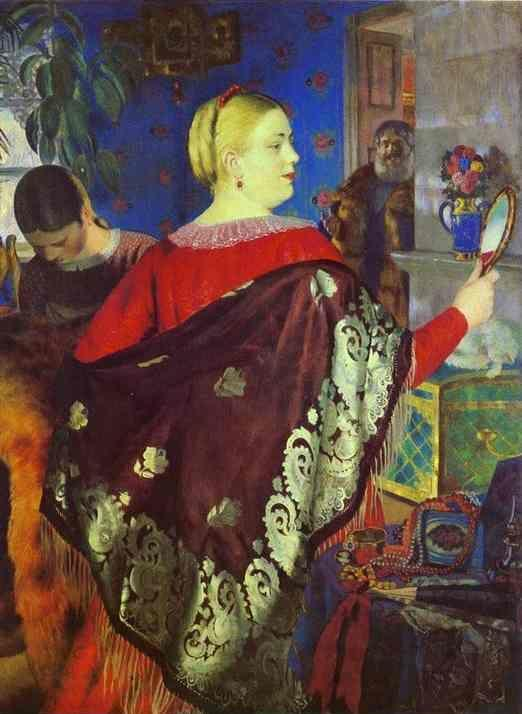 Boris Kustodiyev. Merchant Wife with a Mirror.