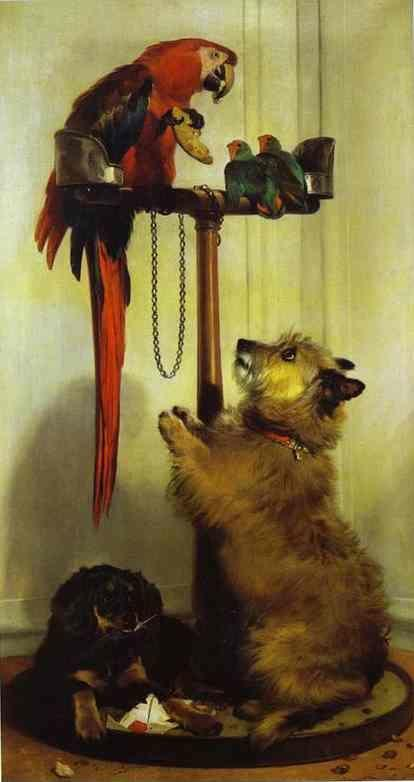 Sir Edwin Landseer. Macaw, Love Birds, Terrier, and Spaniel Puppies, Belonging to Her Majesty.